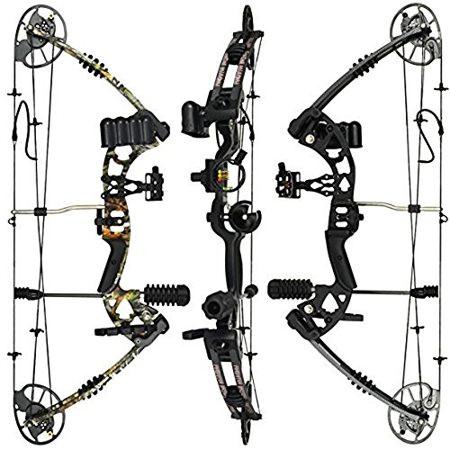RAPTOR Compound Hunting Bow Kit: LIMBS MADE IN USA | Fully adjustable 24.5-31' Draw 30-70 LB pull | Up to 315 FPS | WARRANTY & 100% 30 day GUARANTEE |5 Pin Lighted Sight, Biscuit Rest | Camo RH