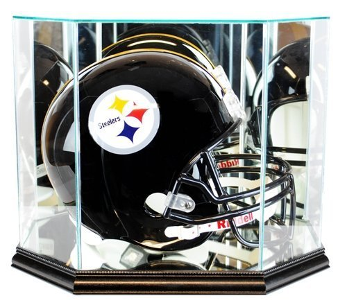 Full Size Football Helmet Display Case - Glass Top with Octagon Black Base
