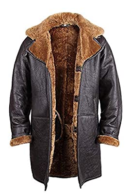 Brandslock Mens Real Shearling Sheepskin Leather Duffle Coat Large Brown