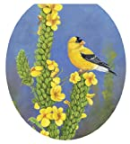 Toilet Tattoos, Toilet Seat  Cover Decal, Gold Finch Bird, Size Round/standard