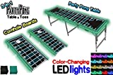2-in-1 Cornhole Boards & Beer Pong Table w/ Color-Changing LED Glow Lights - Philadelphia Football Field