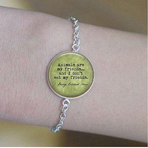 stap VEGETARIAN George Bernard Shaw Quote Animals are my friends. - Vegan - Herbivore - Vegetarian bracelets- Vegan bracelets