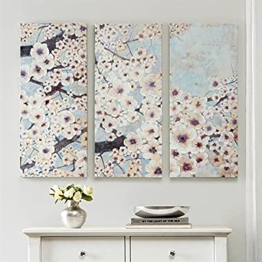 Madison Park Gleeful Bloom Set Printed Canvas With Hand Embellishment 3 Piece Set - Blue - 15x35x1.5 (3)