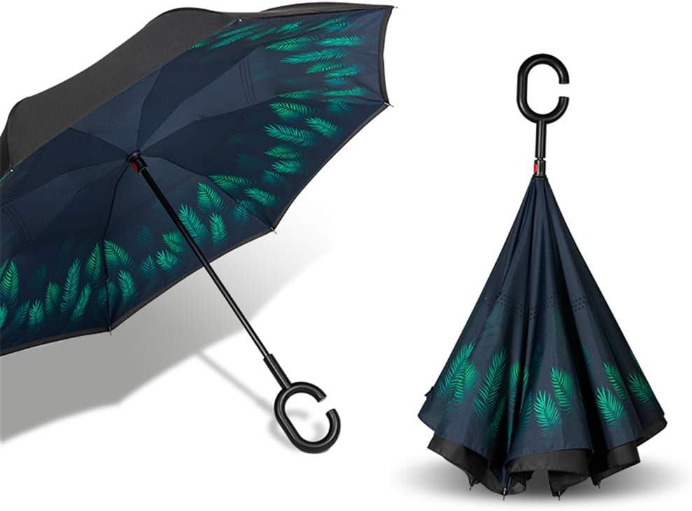 Type C Mains-Libres Creative Pliage Inverted Parapluie Est Fabriqu/é /À Partir De Tissu Dimpact /À Haute Densit/é Et Fibre De Verre,A H//L Double Couche Polaire Droite Parapluie Inverse Automatique