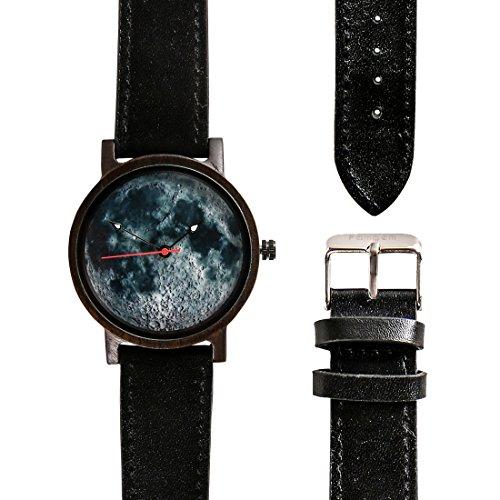 Famgem Wooden Watch for Men Women Ebony Full Moon Leather Strap Japan Movement Casual Watch - Japan Movement Watch