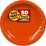 Amscan Big Party Pack 50 Count Plastic Dessert Plates, 7-Inch, Orange
