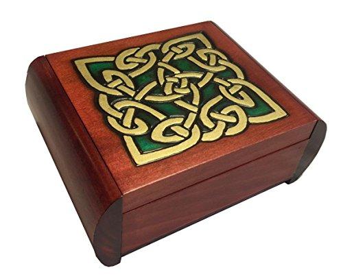 MilmaArtGift Celtic Knot Wooden Box Secret Opening Jewelry Keepsake Polish Handmade Trick Wood ()