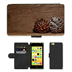 PU Cuir Flip Etui Portefeuille Coque Case Cover véritable Leather Housse Couvrir Couverture Fermeture Magnetique Silicone Support Carte Slots Protection Shell // M00153505 Los conos de madera de pino de oro // Apple iPhone 5C