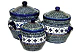 Polish Pottery Mosaic Flower Large Canister Set
