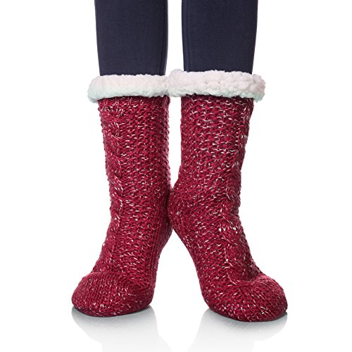 SDBING Women's Sequin Super Soft Warm Cozy Fuzzy Fleece-lined Winter Knee Highs Christmas gift Slipper socks (Wine Red) ()