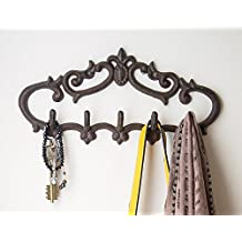 """Comfify Cast Iron Wall Hanger – Vintage Design with 5 Hooks - Keys, Towels, etc - Wall Mounted, Metal, Heavy Duty, Rustic, Vintage, Decorative Gift Idea - 12.9 x 6.1"""""""
