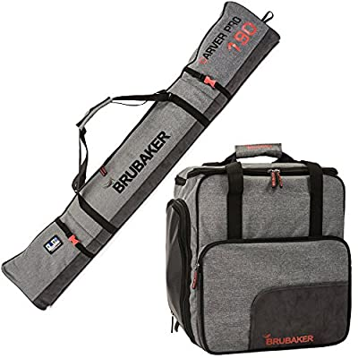 "BRUBAKER Combo Ski Boot Bag and Ski Bag for 1 Pair of Ski, Poles, Boots, Helmet, Gear and Apparel - Available in (170 cm) 66 7/8"" or (190 cm) 74 3/4"" - Gray"