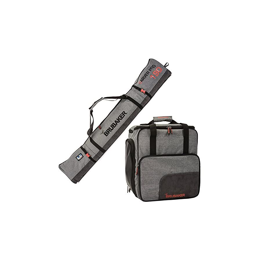 "BRUBAKER Combo Ski Boot Bag and Ski Bag for 1 Pair of Ski, Poles, Boots, Helmet, Gear and Apparel Available in (170 cm) 66 7/8"" or (190 cm) 74 3/4"" Gray"