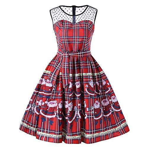 Women's Half Sleeve Swing Dress Print A Line Tea Dress Xmas Ugly Dress(Red X-Large)