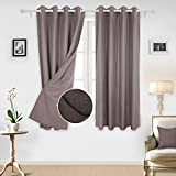 Deconovo Decorative Pinstripe Window Curtains 2 Panels Grommet Top Curtains Lined Polar Fleece for Living Room 52×84 Inch Grayish Purple 1Pair For Sale