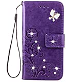 Moto G Play Case,HAOTP 3D Fashion Handmade Bling Crystal Rhinestone Butterfly Floral Lucky Flowers PU Flip Stand Credit Card ID Holders Wallet Leather Case for Moto G4 Play (2016) (Bling /Purple)