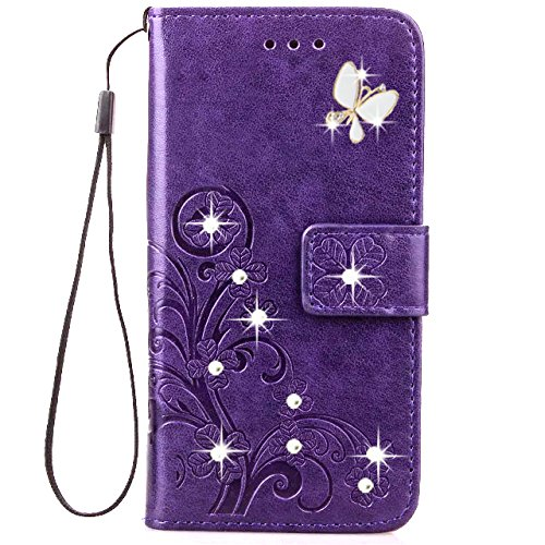 HAOTP Beauty 3D Handmade Crystal Rhinestone Butterfly Floral Lucky Flowers PU Flip Stand Credit Card ID Holders Wallet Leather Case for Samsung Galaxy J7 Sky Pro / J7 2017 / J7 Prime Bling/Purple ()