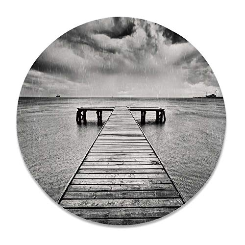 YOLIYANA Black and White Decorations Various Decorative Plate,Old Wooden Pier on Sea Dramatic Sky Heavy Clouds Rainy Weather Decorative for Family Parties,7 inch (1 Plates Zebra Pier)