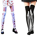 Halloween Blood Stained White Stockings and Skeleton Over Knee Socks