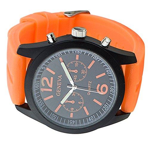 Geneva Unisex Mens Womens Orange Silicone Band Quartz Wrist Watch Jelly Watches