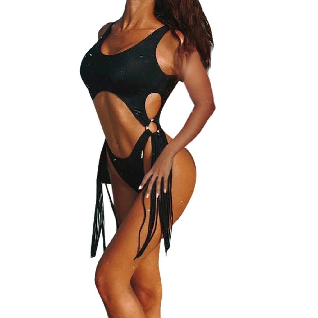 Seamount Sexy Skinny Curve Cutout Bikini Set Push-Up One-Piece Fringed Fashion Swimsuits Jumpsuit (Black, L)