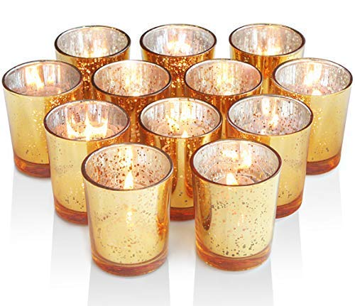 Volens Gold Votive Candle Holders, Mercury Glass Tealight Candle Holder Set of 12 ()