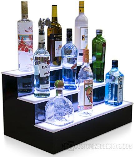 24' 3 Step Led Lighted Bottle Display Shelf with LED Color Changing Lights