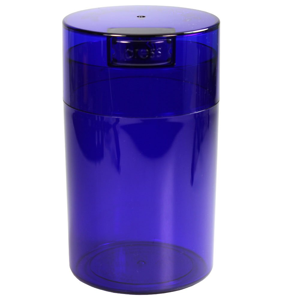 Tightvac - 1 oz to 6 ounce Airtight Multi-Use Vacuum Seal Portable Storage Container for Dry Goods, Food, and Herbs - Blue Tint Cap & Body
