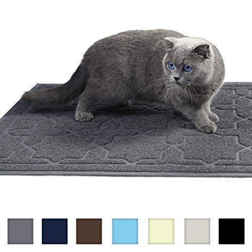 Yimobra Cleaning Cat Litter Mat, XL Jumbo Traps Mats for Litter Box, Scatter Control Pets Pads,Soft on Kitty Paws,No Phthalate,Water Resistant,Non-Slip,Durable,Large Size 35.4 x 23.6 inches,Dark Gray
