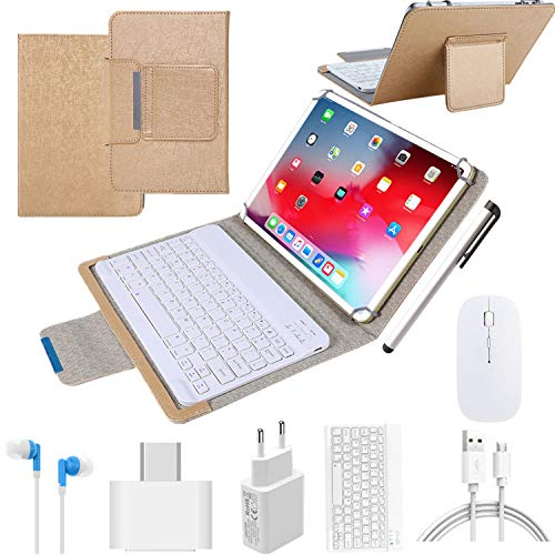 4G Tablets 10.1 inch Android 9.0,2 in 1Tablet with Keyboard, Tablet case & Mouse,4GB RAM 64GB ROM,Dual SIM Call & HD 5MP 8MP,8000mAh Quad Core Computer Tablets, Bluetooth/Google Play/GPS (Gold)