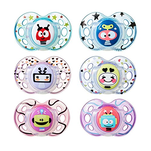 Tommee Tippee Closer to Nature Fun Style Orthodontic Toddler Soothie Pacifier, 18-36 months, 2 Count (Colors May Vary) -