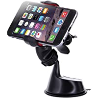 Dash Crab FX - Windshield Dashboard Car Mount Holder Cradle for cell phone, One-handed Operation Smart Clamp Grip, Universal Fit for iPhone, Samsung Galaxy, LG, HTC, Nexus and all (Black)
