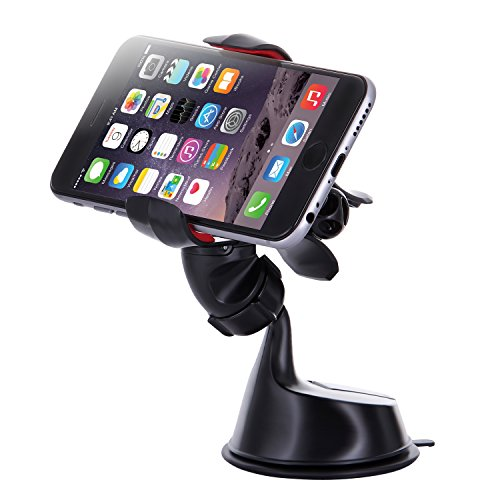 Dash Crab FX - Cell Phone Car Mount Holder, One-handed Operation Clamp Grip, Windshield Dashboard Car Mount, Universal Fit for iPhone, Samsung Galaxy, LG, HTC, Nexus and all (Black)