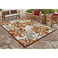 Gertmenian 21613 Indoor Outdoor Rugs Patio Area Carpet, 5.25x7 Standard, Leaf Orange Flower
