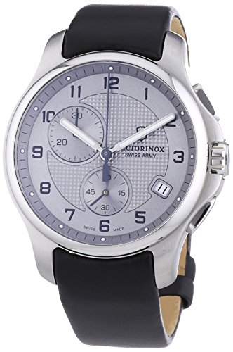 Victorinox Swiss Army Men's 241553.2 Leather Officers Quartz Analog Chronograph Silver Dial Watch ()