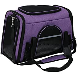X-ZONE PET Airline Approved Pet Carriers,Comes with Fleece Pads Soft Sided Pet Carrier for Dog & Cat (Large, Dark purple)