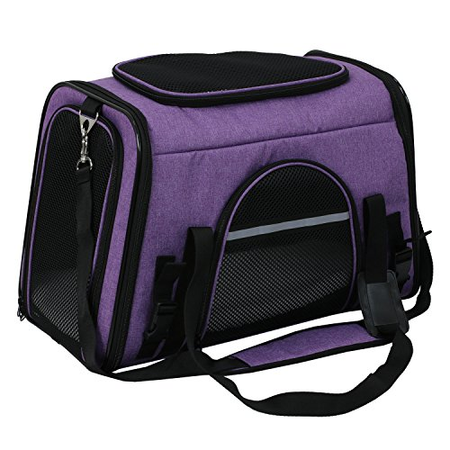 X-ZONE PET Airline Approved Pet Carriers,Comes with Fleece Pads Soft Sided Pet Carrier for Dog & Cat (Large, Dark purple) For Sale