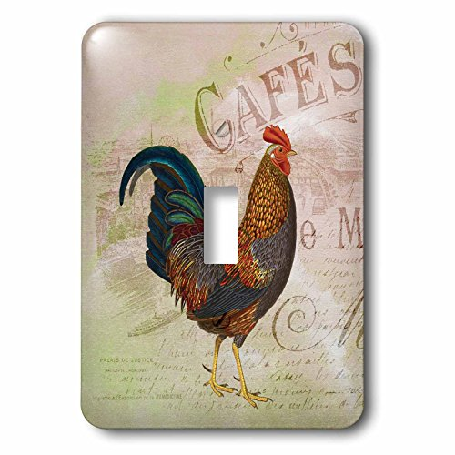 Rooster Switch Cover - 3dRose lsp_123379_1 French Rooster Café Vintage Art Light Switch Cover