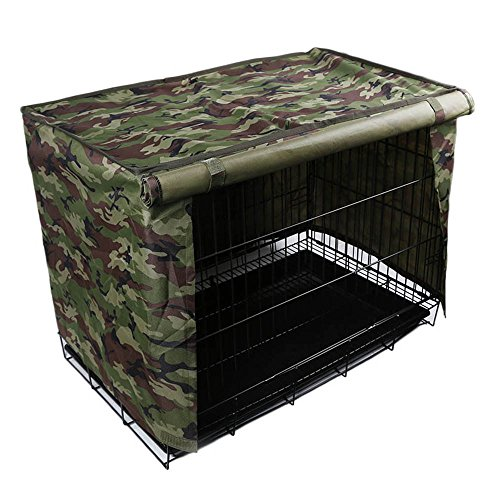 Pet Crate Kennl Cover, Indoor/Outdoor Polyester Windproof and Waterproof Dog Cat House Cage Cover (M, Camo)