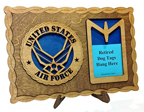 CLA Armed Forces Air Force Contemporary Emblem Laser Crafted Three Dimensional Wooden Dog Tag Holder Plaque
