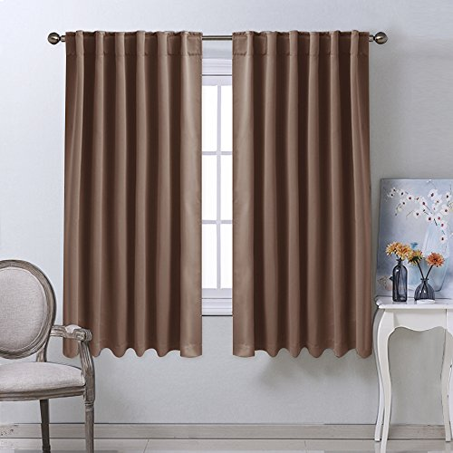 Blackout Curtains and Drapes for Kitchen - (Cappuccino Color) 52 inch wide by 63 inch long, Two Panels Set, Thermal Insulated Blackout Window Drapes by NICETOWN
