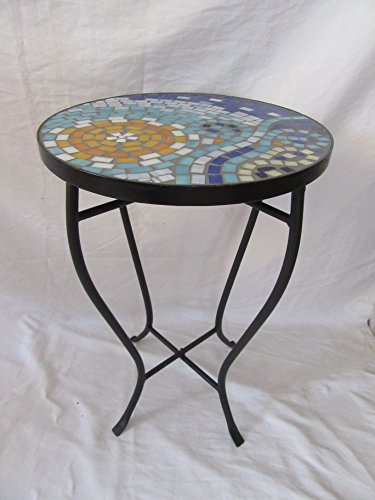 Cheap  Sun and Wave Mosaic Black Iron Outdoor Accent Table 21