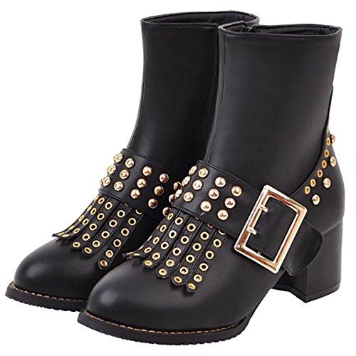 AIYOUMEI Damen Stiefeletten mit Nieten und Schnalle 5cm Absatz Herbst Winter Retro Stiefel Schuhe vuREDvK
