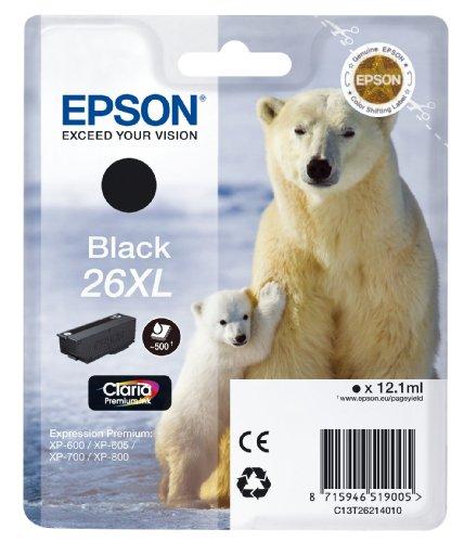 Epson T26 Tintenpatrone Eisbär XL, Singlepack schwarz