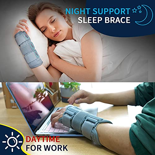 Wrist Brace for Carpal Tunnel for Women Men, Adjustable Night Sleep Support Brace with Splints Right Hand, Small/Medium