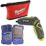 Ryobi HP44L 4-Volt Quickturn Cordless Screwdriver with Kobalt (55 Piece) Drill Bit Sets and Milwaukee Tool Pouch (Bundle)
