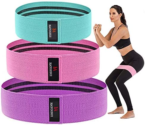 Hayousui Exercise Resistance Bands for Women - Hip Booty Bands Stretch Workout Bands Cotton Resistance Band for Legs and Butt Body Yoga Pilates Muscle Training 1