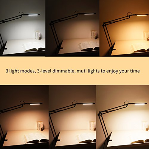 ToJane LED Architect Desk Lamp,Drafting Clamp on Table Lamp, 9 Light Modes Dimmable Work/Reading Light by ToJane (Image #2)