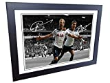 Signed 12x8 Black Soccer Harry Kane Dele Alli Tottenham Hotspur Spurs Autographed Photo Photograph Football Picture Frame Gift A4