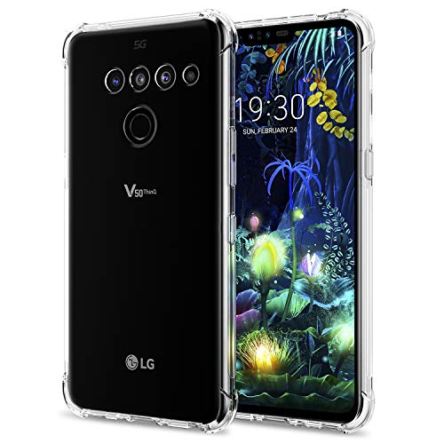 - [2 Pack] LG V50 ThinQ Case/LG V50 Case, SPARIN LG V50 ThinQ Case with Precise Cut-Out/Camera Protection/Scratch Resistance/Anti Watermark/Soft Nature TPU, Crystal Clear, 6.4 Inch